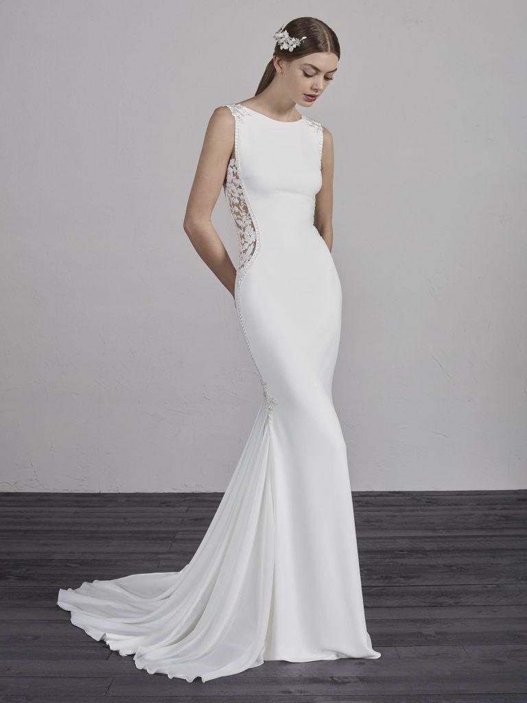 840c06a847 ESTIMA PR Pronovias - Vivienne Boho Wedding Dress, Modest Wedding Dresses,  One Shoulder Wedding