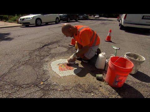 Filling Potholes With Art Youtube Chicago Artists Mosaic Art Installation Street Art