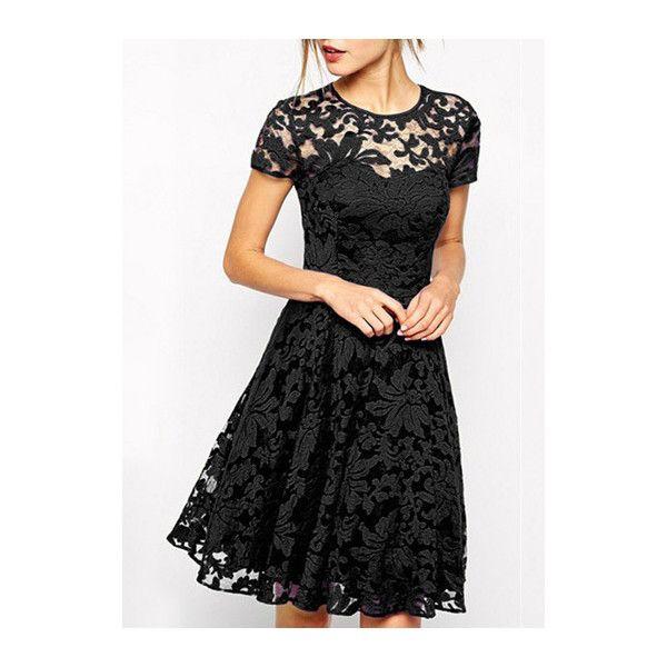 Rotita Black Short Sleeve Lace Skater Dress ($19) ❤ liked on Polyvore featuring dresses, black, skater dress, knee-length dresses, print skater dress, lace dress and black skater dress
