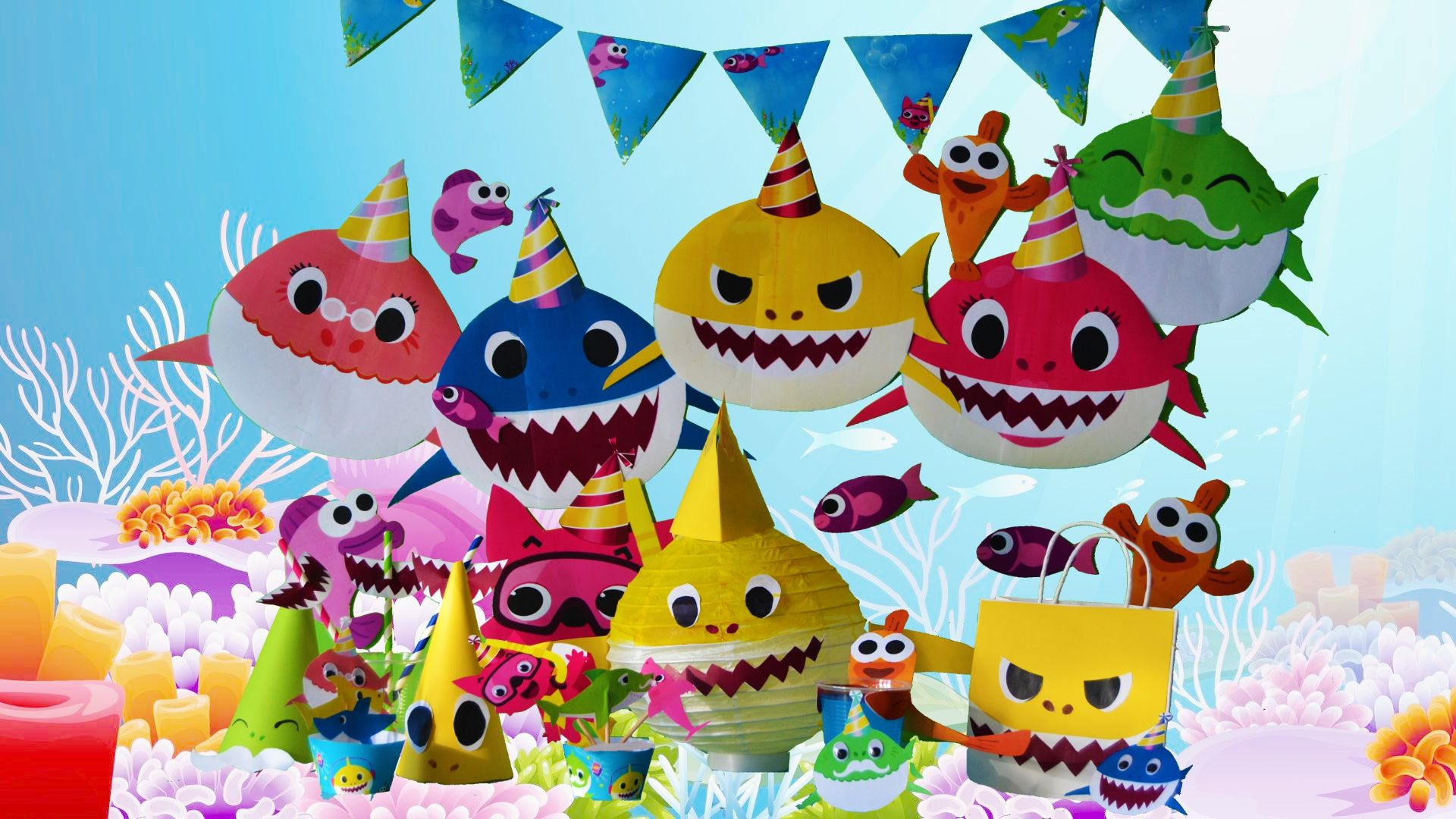Diy Baby Shark Song Party Decoration Decor Crafts Under The Sea Kids Party Ideas Pinkfong Shark Themed Birthday Party Shark Birthday Party Shark Theme Birthday