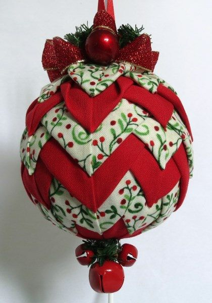 Quilted Keepsake Ornaments Christmas Bell by QuiltedKpskOrnaments - Quilted Keepsake Ornaments - Christmas Bell - Red Holly Berries