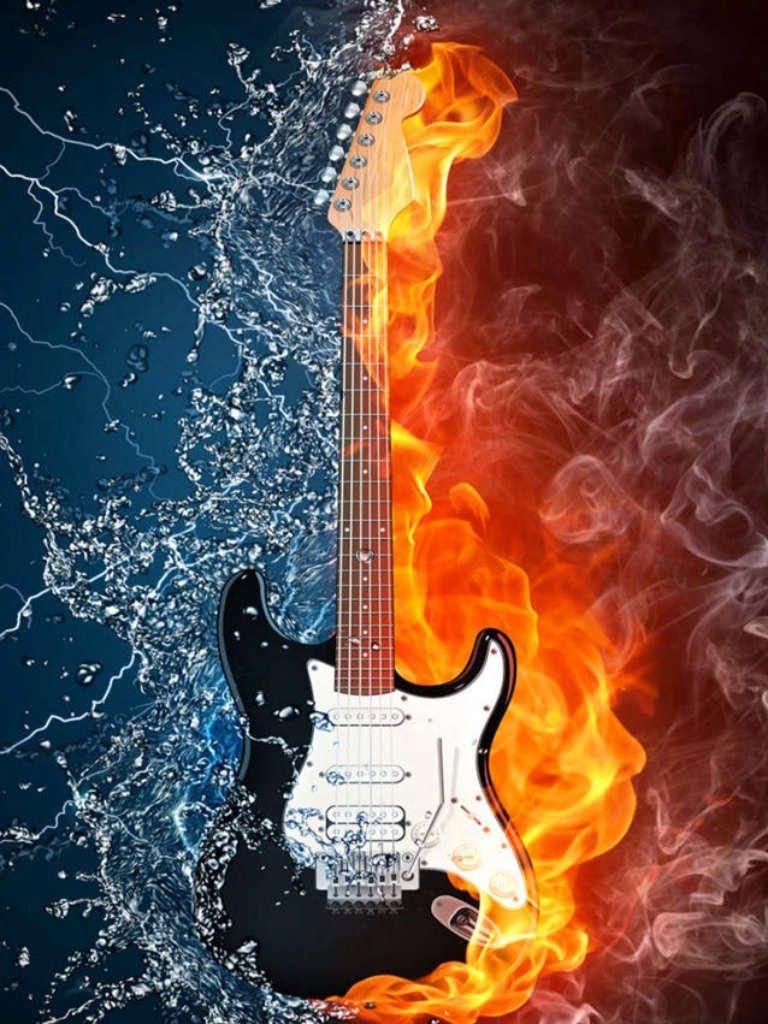 Guitar Fire N Water Wallpaper Wallpaper For Pc Fond D Ecran Colore Fond Ecran Guitare