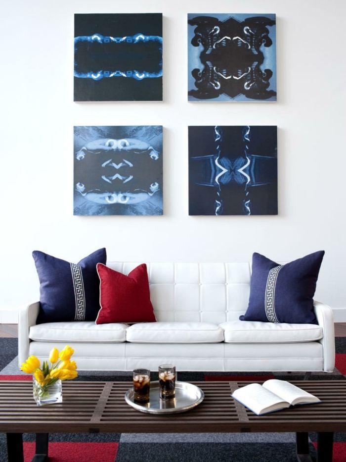 Set Aus Bilder Auf Leinwand Blau Schwarz Abstrakte Kunst