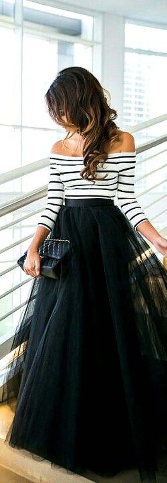 Long black tulle tutu skirt maxi skirt color of your chose