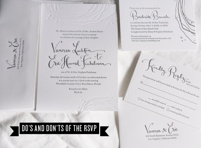 Do's and Don'ts of the RSVP   Rue with Kathryn Murray Calligraphy Letterpressed invitation suite