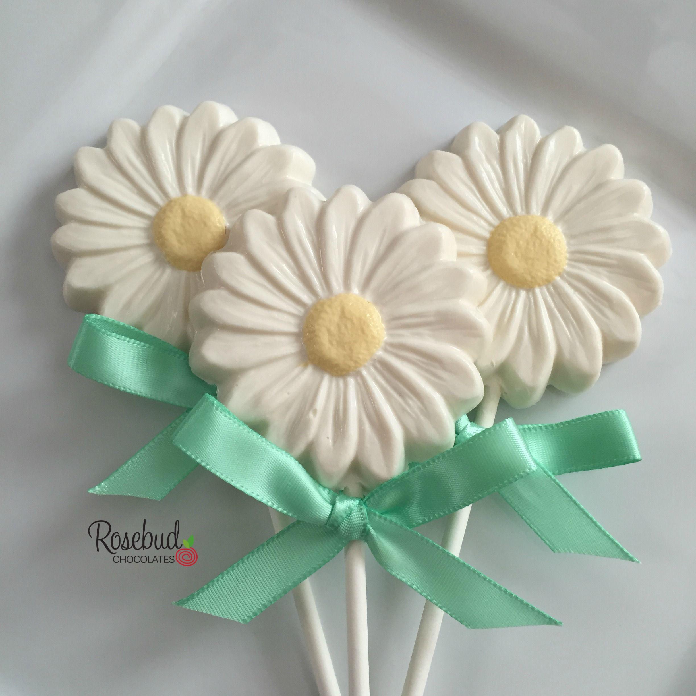 White Chocolate Daisy Lollipop Favors... Garden Birthday Party ...