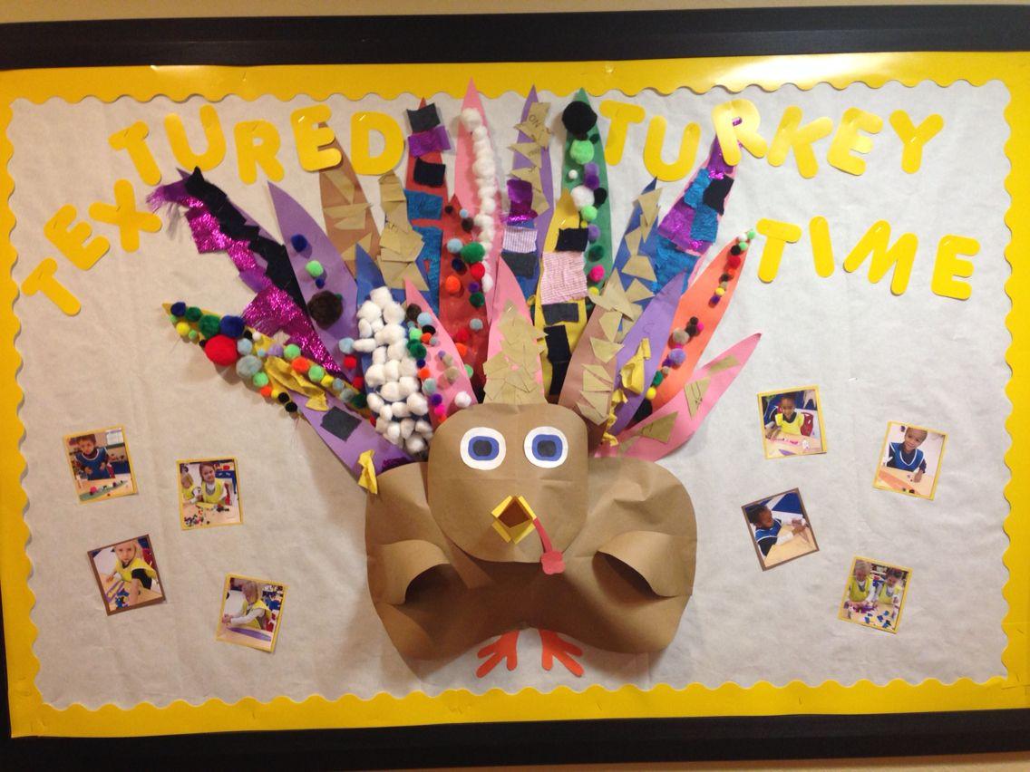 Thanksgiving Turkey Bulletin Board Children Made Feathers