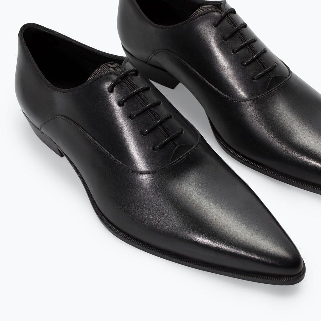 Wedding Shoes Zippay: LEATHER OXFORD SHOE WITH POINTED TOE From Zara