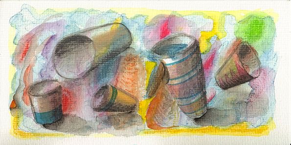 """some cups"", #Aquarell & Aquarellstift auf #Hahnemühle Aquarellkarton, 250 g/m2, 21 x 10,5 cm, © #matthias #hennig 2014 ""some cups"", #Watercolour & watercolor pen #painting on Hahnemuehle #watercolor board , 250 g/sqm, 21 x 10,5 cm, © matthias hennig 2014"