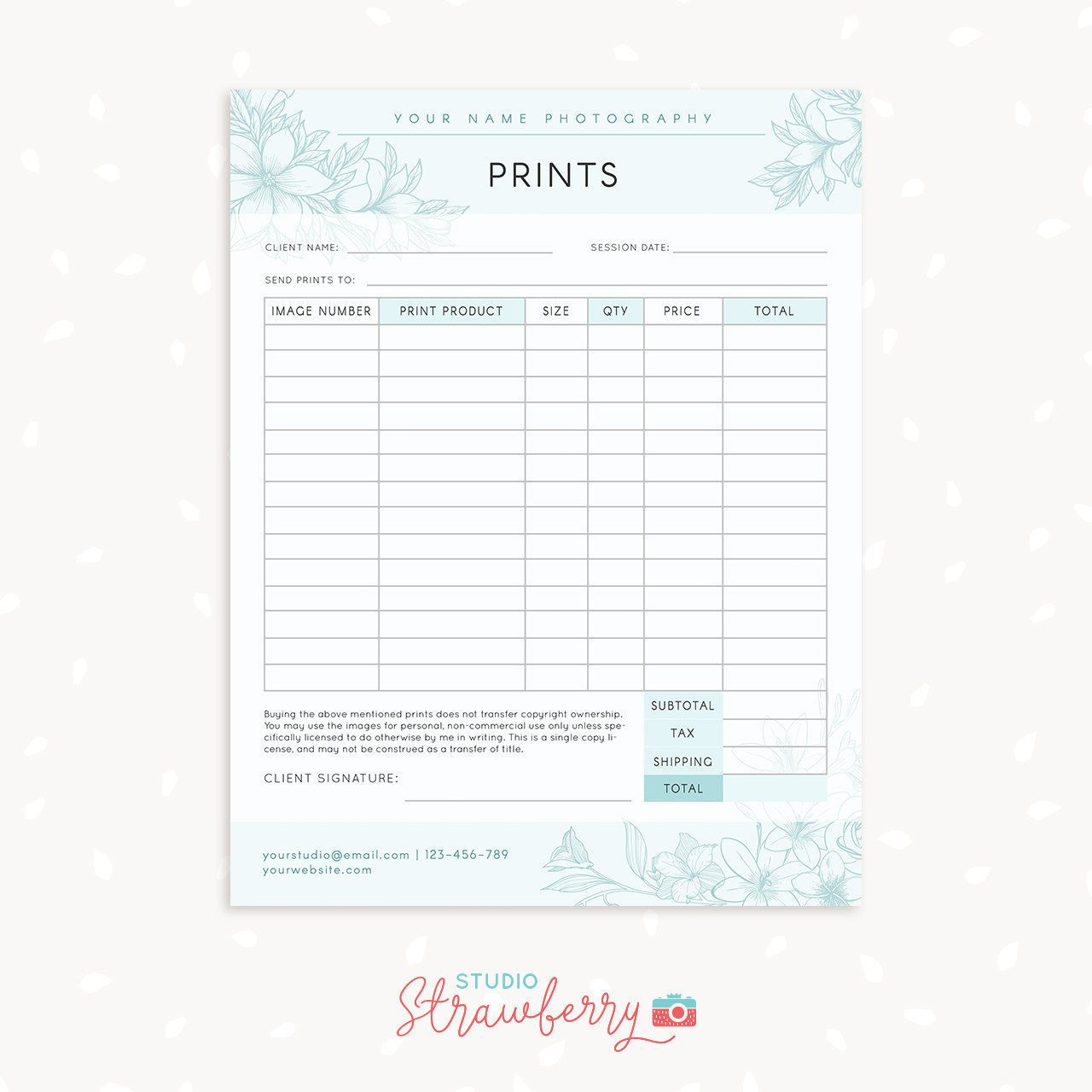 Order Form Template Floral Photography Order Form Photography