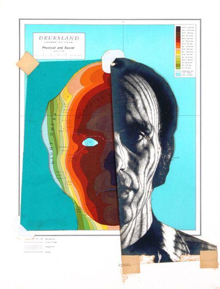 "Michael Druks - ""Druksland"" Self Portrait - Collage Drawing"