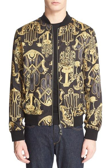 Versace Collection Print Reversible Bomber Jacket