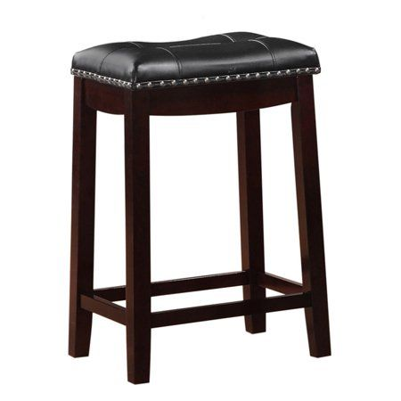 Angel Line Cambridge 24 Inch Padded Saddle Stool Espresso W Black