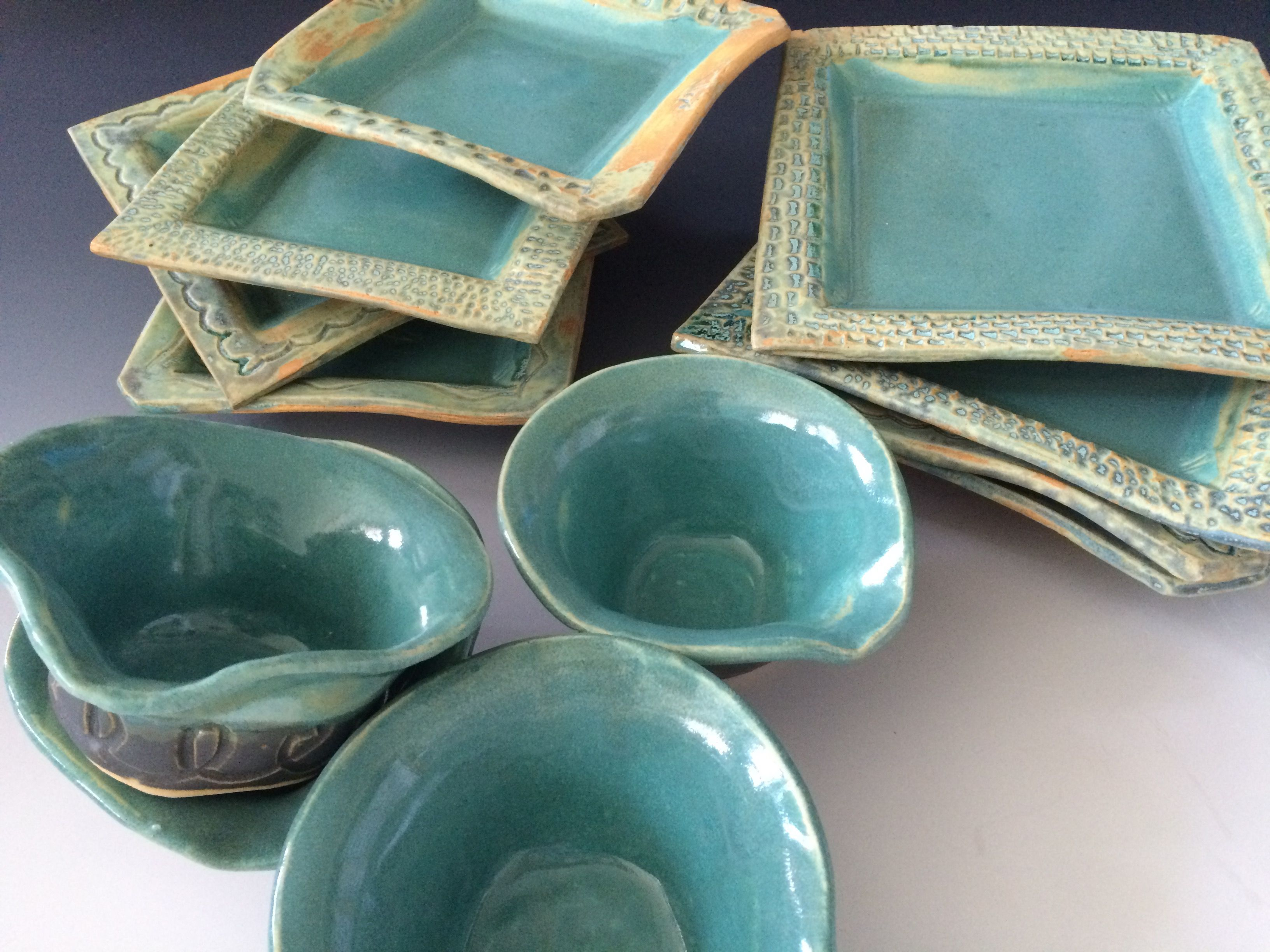A set of dishes from our first pottery classes. They look great! Chris Thomas : thomas pottery dinnerware - pezcame.com