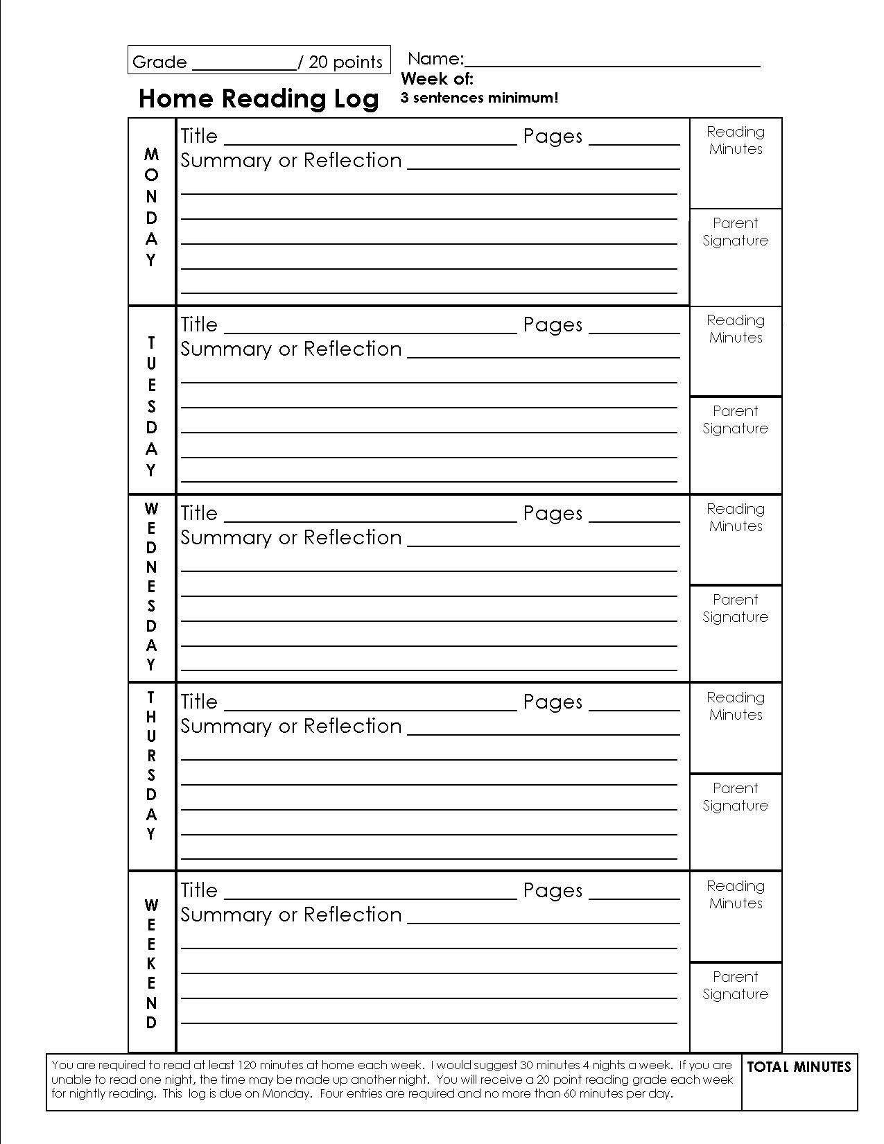 Reading Response Forms For Elementary Schools  Reading Logs For