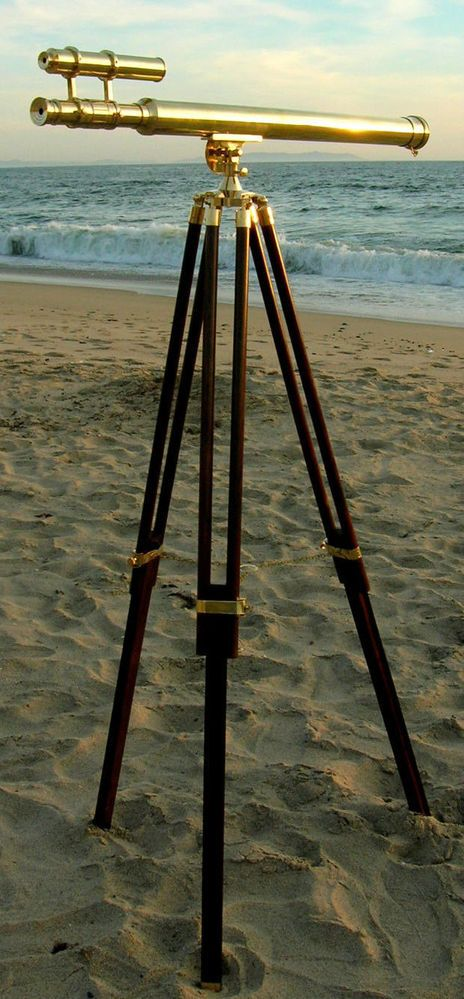 BRASS DOUBLE BARREL GRIFFITH ASTRO TELESCOPE WITH TRIPOD STAND NAUTICAL