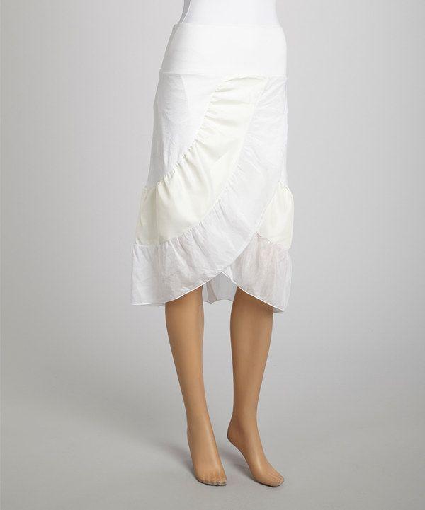 Look at this #zulilyfind! Saga White & Beige Ruffle Silk-Blend Tulip Skirt by Saga #zulilyfinds