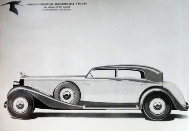 Design for a Hispano Suiza 5 place Berline by Saoutchik.
