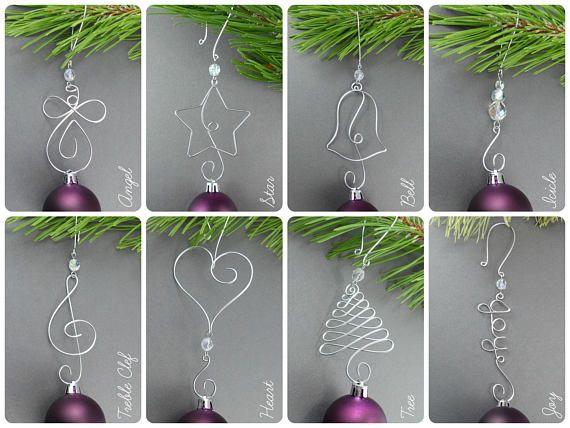 TEN Beaded Christmas Ornament Hooks - Wire Ornament Hangers with Beads for Unique Christmas Ornaments