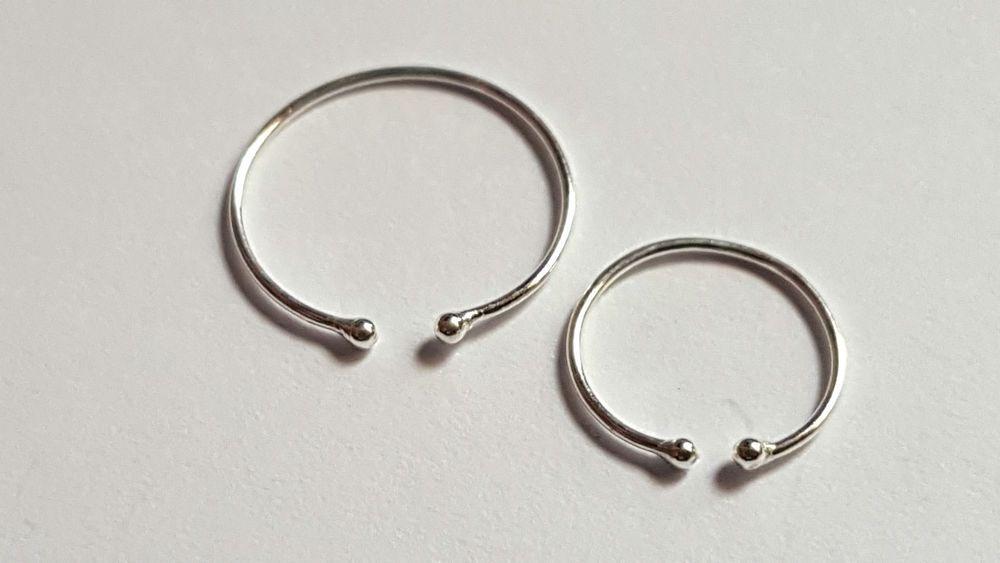 10mm Tragus Septum Horseshoe Nose Ring Cheater Fake Ear Silver Hoop 8mm