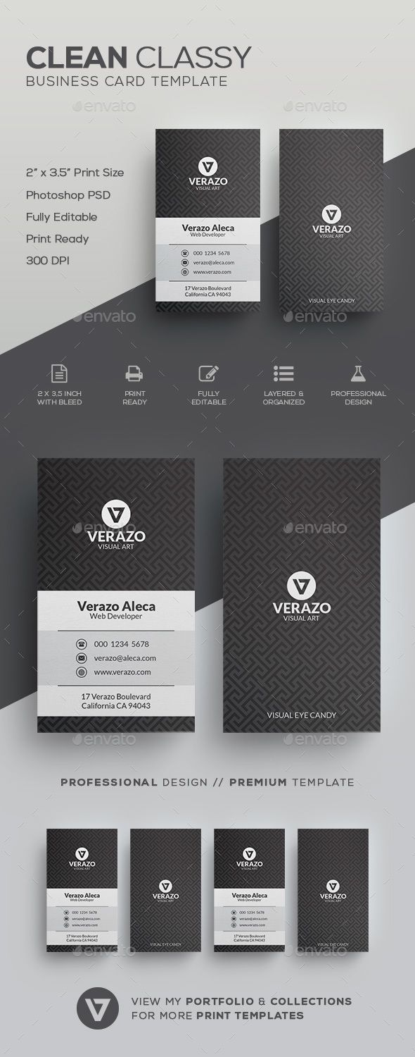 Clean Classy Business Card Template | Card templates, Corporate ...