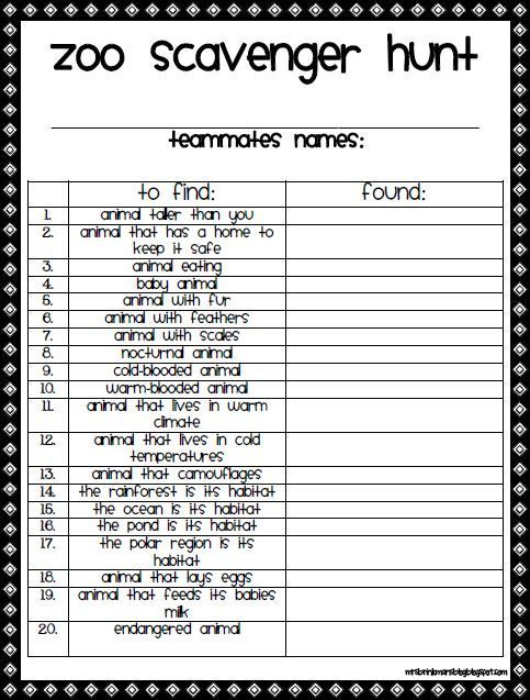 It is a graphic of Revered Zoo Scavenger Hunt Printable