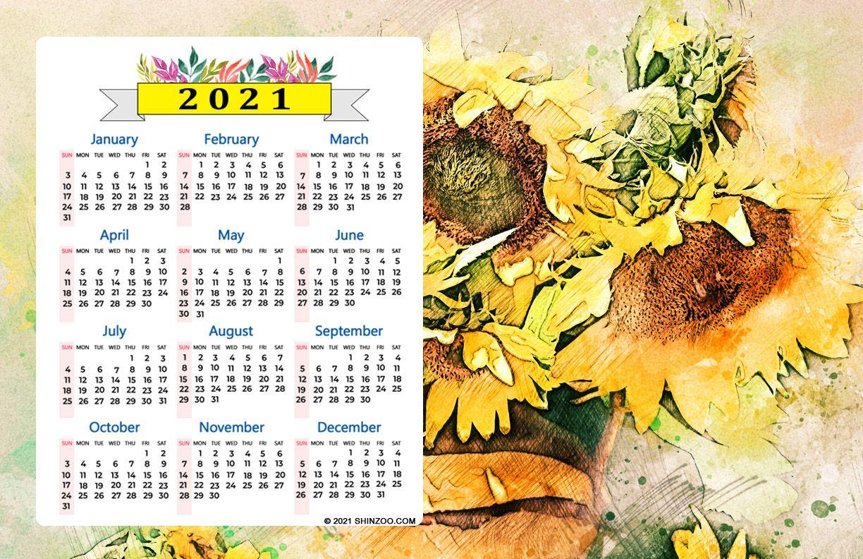 2021 Calendar 11x17 Printable Template Sunflower Painting Printable Calendar Template Printable Calendar Calendar Template