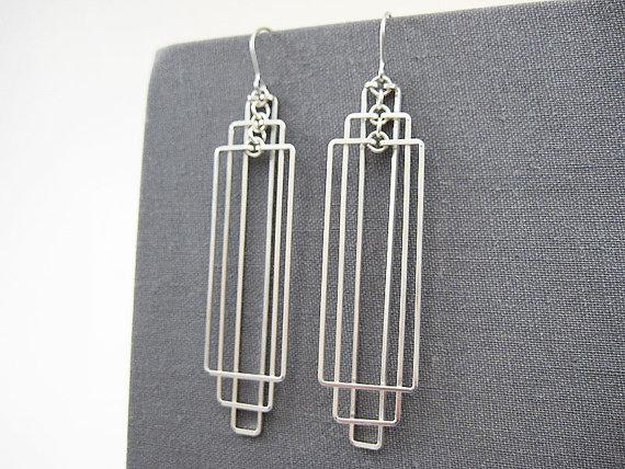 Silver Art Deco Earrings