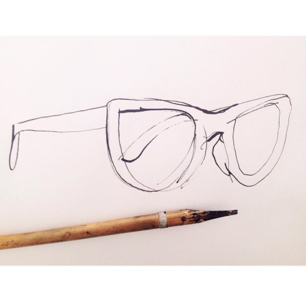 Caroline Tomlinson. Sketchbook. Sunglasses and bamboo pen.