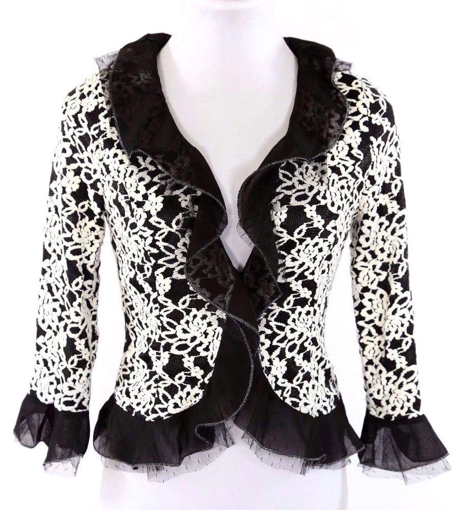 Ruffle Lace Overlay Black White Metallic Gold Stretch Cardigan ...