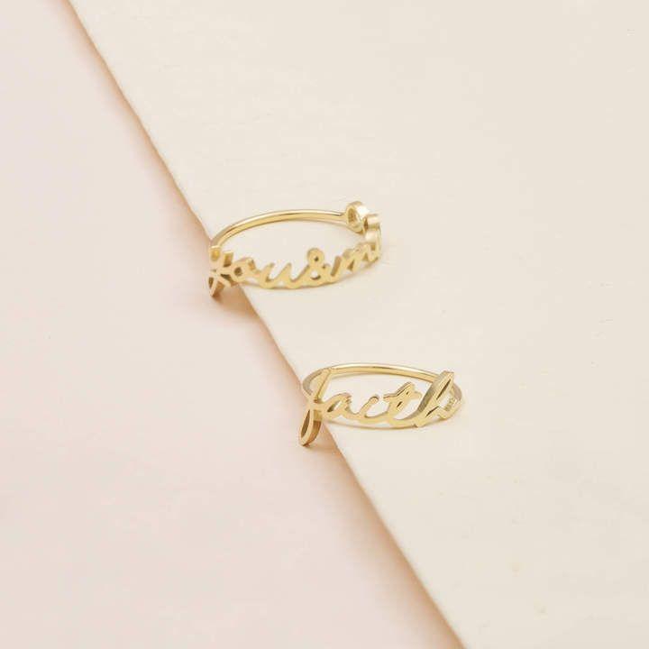 Etsy Custom Name Ring - Personalized Name Ring - Gold Name Ring - Minimal Name Jewelry - Custom Word Ring