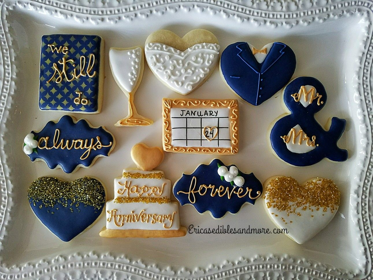 bridal/wedding theme cookiesericas. of erica's edibles