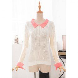 $16.44 Retro Style Splicing Net Openwork Cotton Blend Color Matching Knitwear For Women