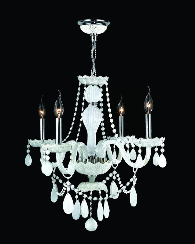 "View the Worldwide Lighting W83095C23-WH Provence 4 Light 1 Tier 23"" Chrome Chandelier with White Crystals at LightingDirect.com."