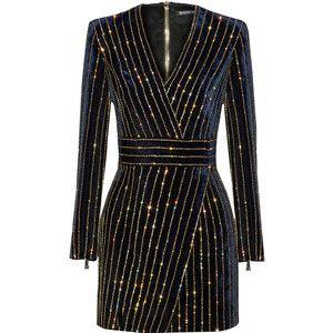 Balmain Embellished velvet mini dress