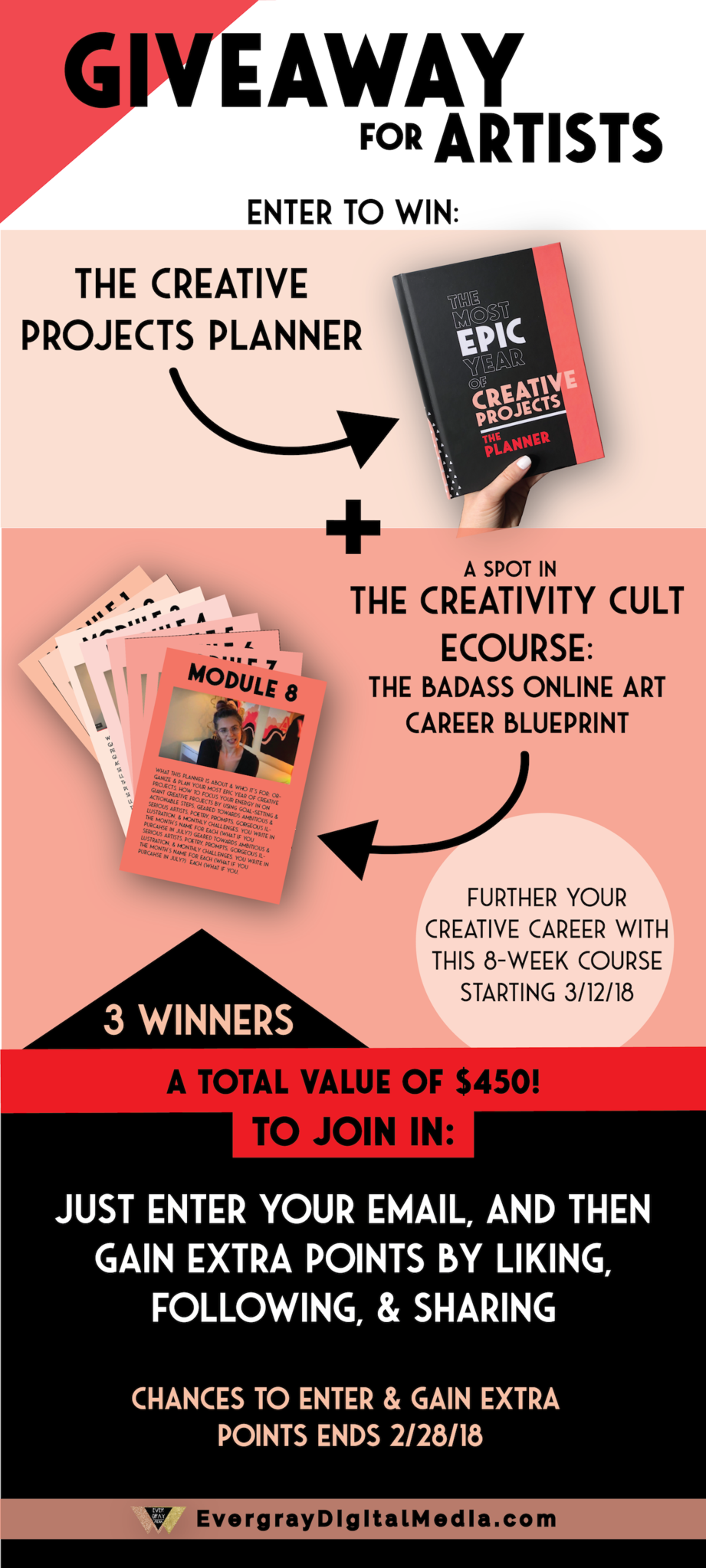 Giveaway for artists skyrocket your online art career in 2018 by 2018 giveaway for artists enter to win the creative projects planner a spot in malvernweather Choice Image