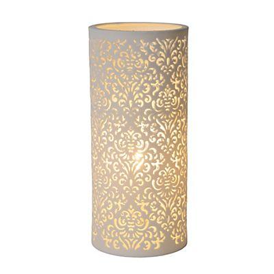 Lampe Decorative A Poser En Ceramique Blanche Ajouree H28cm
