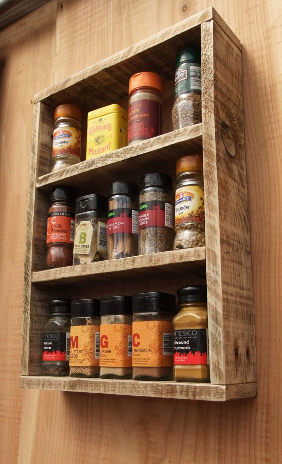 Rustic Spice Rack Kitchen Shelf Made From Reclaimed Wood Etsy Pallet Kitchen Cabinets Pallet Kitchen Wood Pallets