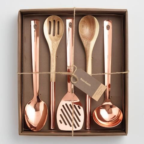 Photo of Copper and Wood Kitchen Utensils 5 Piece Gift Set | World Market