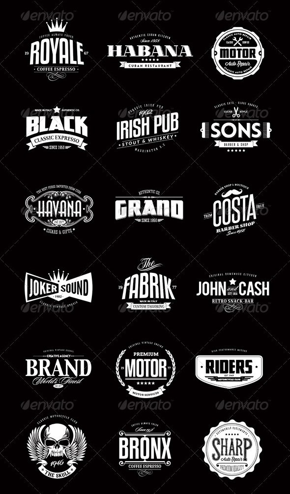 13 Vintage Logo Bundles for Your Designs is part of Vintage logo design - These logo packs are very flexible  You can quickly type in your text and change the tagline  If you're experienced, you can easily add you own creative touch to them  These logos make fantastic posters, signs, logos, tshirts, packaging labels, you name it