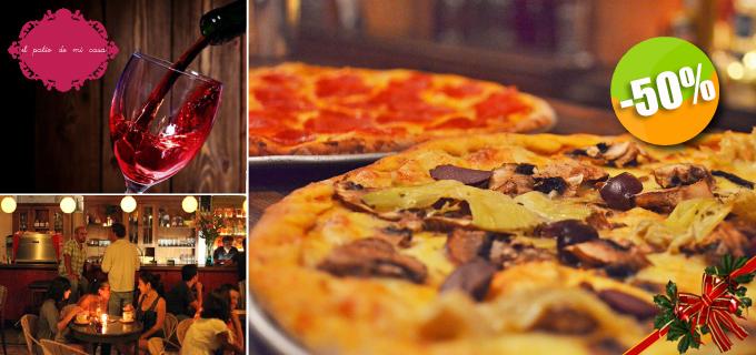El Patio de mi Casa - $90 en lugar de $180 por 1 Pizza a la Leña de Pepperoni, Veraniega o Margarita + 1 Copa de Vino de la Casa ó 1 Limonada