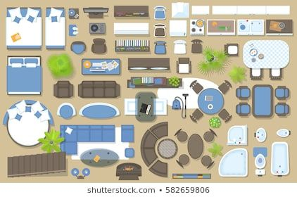 icons set of interior top view isolated vector illustration furniture and elements for on kitchen interior top view id=84149