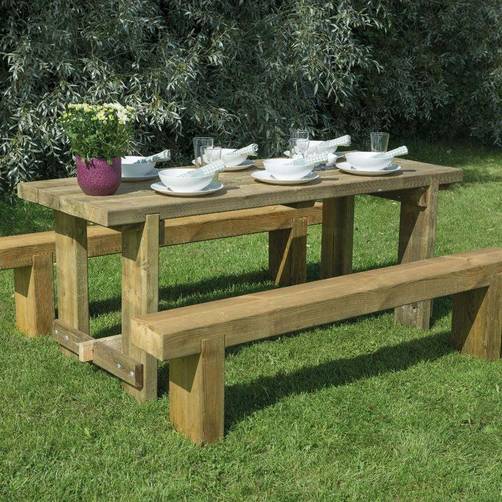 Forest Garden Refectory Picnic Table Sleeper Bench Set  1 8m is part of Wooden garden Table -  3 96m2 Made from FSC Certified timber Pressure treated wood  No need to preserve or paint Suitable for leaving outside all year 15 year Antirot guarantee Delivery Information We deliver to all mainland UK but we are unable to deliver to UK Islands and Ireland