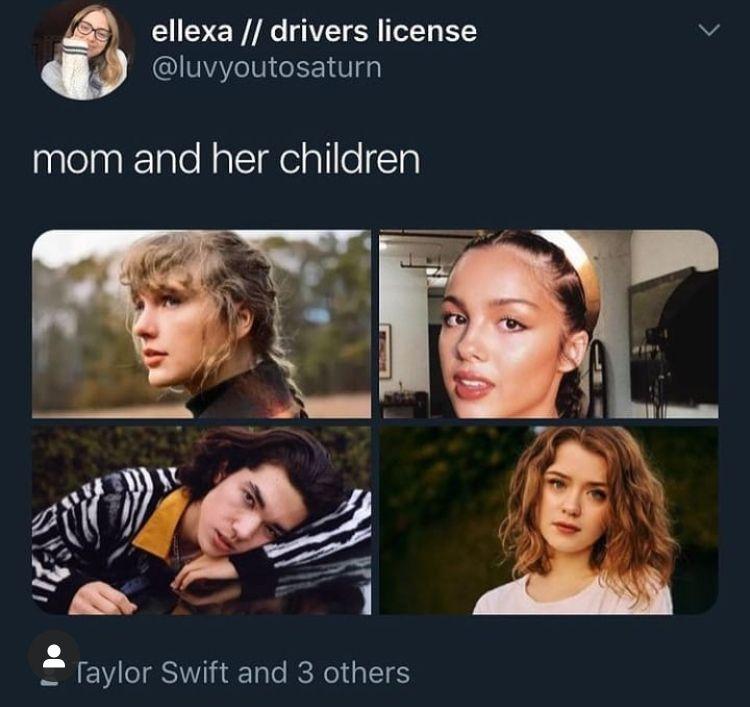 Taylor Swift Olivia Rodrigo Conan Gray Maisie Peters In 2021 Taylor Swift Funny Taylor Swift Lyrics Taylor Swift