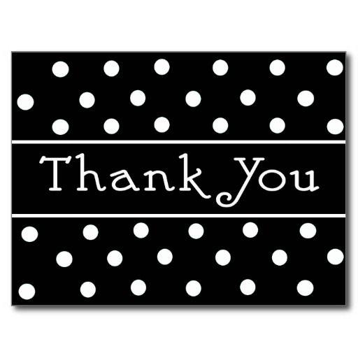 Thank You Black & White Polka Dot Pattern Postcard