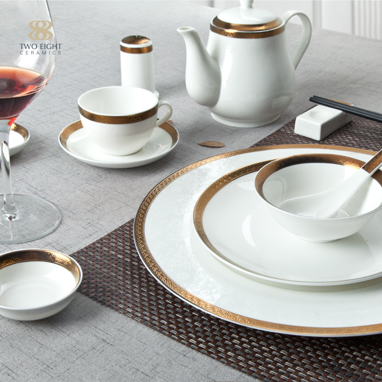 Dubai Royal Gold Rim Ceramic Crockery Bone China Crockery For Hotel Custom Decal Tableware Embossed Gold Dinner Set In 2020 China Crockery Crockery Tableware