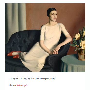 Relaxed s-shape.  (Marguerite Kelsey, by Meredith Frampton, 1928)