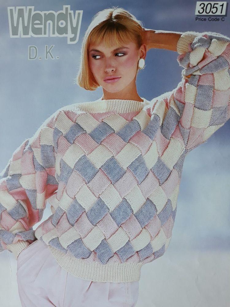 ffdb32cc6101 Knitting pattern Wendy 3051 ladies entrelac DK sweater long sleeves   slash  neck  Wendy