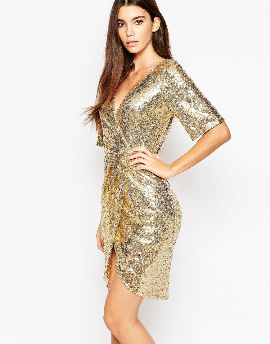 Image 1 of TFNC Kimono Sleeve Sequin Dress with Wrap Skirt | Casual ...