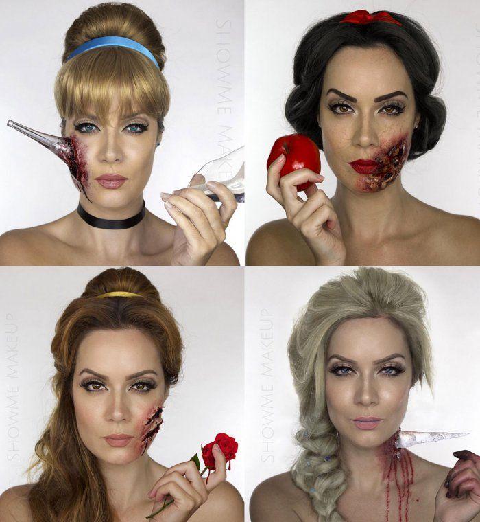 Les princesses disney effrayantes pour halloween maquillage halloween halloween et maquillage - Maquillage zombie simple ...
